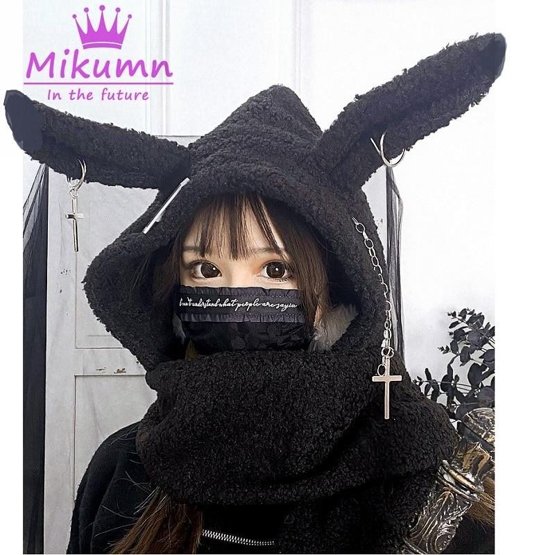 Harajuku japonês meninas longo coelho orelha chapéu gótico preto cruz corrente lambswool inverno quente com capuz cachecol bonés streetwear