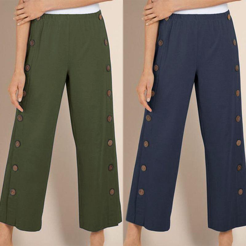 Elegant Women   Wide     Leg     Pants   Ladies Casual Buttons Elastic Waist   Pants   Cotton Linen Long Trousers Korean Style Pantalones Mujer