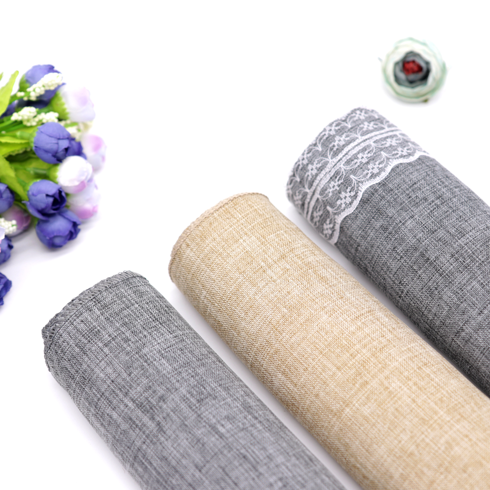 Gray Khaki Burlap Table Runner Jute Imitated Linen Lace Tablecloth Rustic Wedding Party Banquet Table Overlay Home Textiles