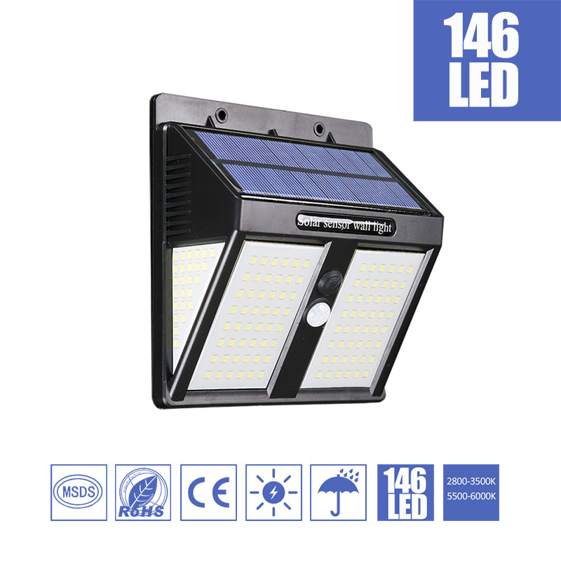 146LEDs Solar Garden Light Cold Warm Led Outdoor Solar Light Wall Fence Stair Pathway Yard Security Street Solar Lamp Bulb