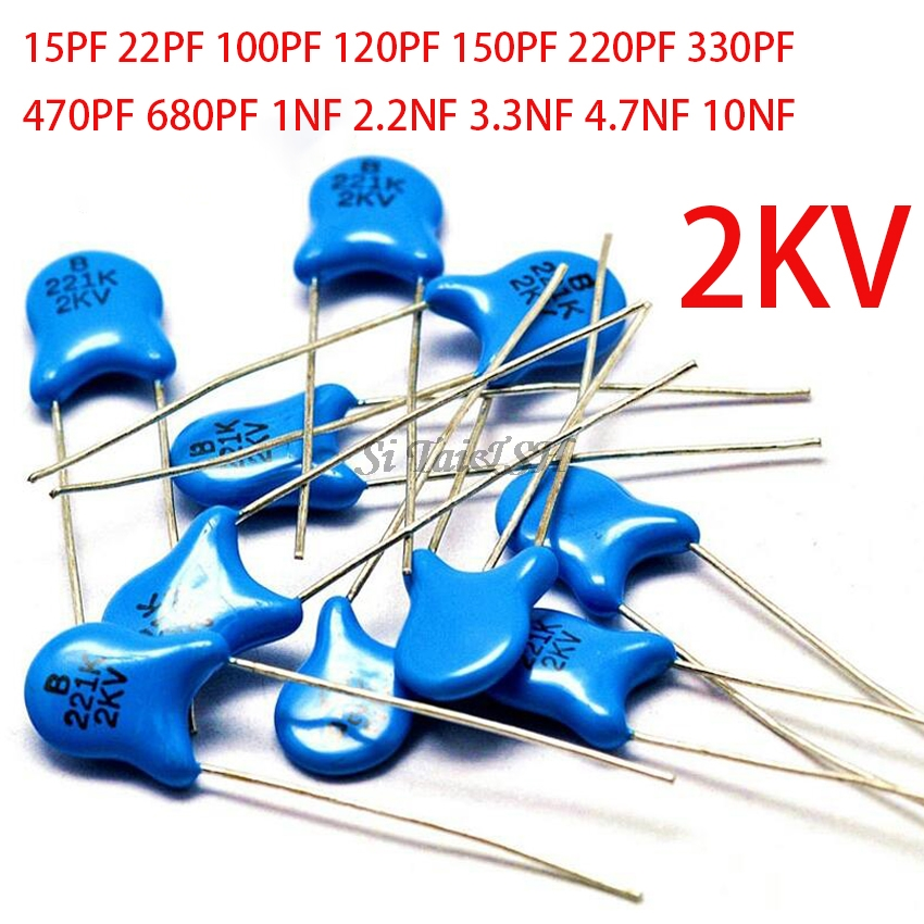 20pcs High Voltage Ceramic Capacitor 2KV 15PF 22PF 100PF 120PF 150PF 220PF 330PF 470PF 680PF 1NF 2.2NF 3.3NF 4.7NF 10NF