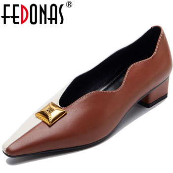 FEDONAS Elegant Women Sheepskin Leather Retro Pointed Toe Metal Decoration 2020 Thick Heels New Arrival Party Shoes Woman