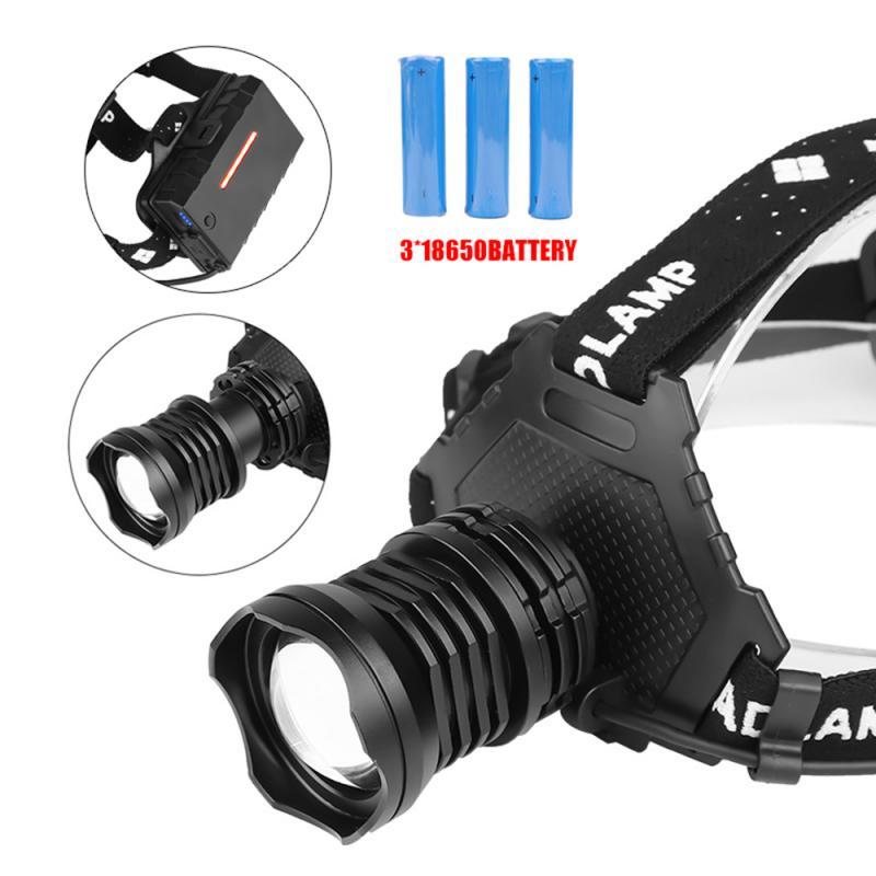 50000LM XHP50 LED Headlamp Headlight Reachargable Zoom Torch Lamp 18650 Light A