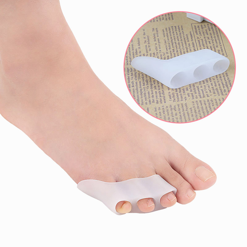 1 Pair =2Pcs Silicone Gel Foot Fingers Two Hole Toe Separator Thumb Valgus Protector Bunion Adjuster Pads Anti Eversion Overlap