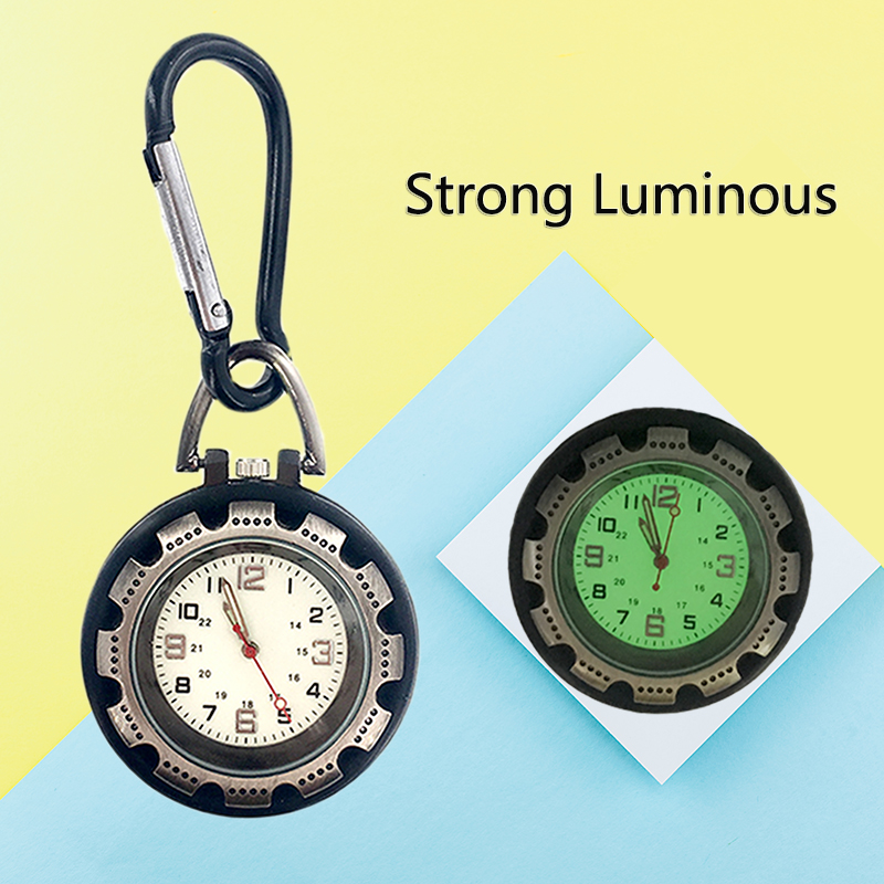 Vintga Retro Smooth  Black Pocket Watch Bronze Polish Quartz Fob Pocket Watch Pendant Carabiner Hook Clip Strong Luminous Watch