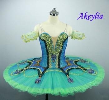 Professional Ballet Tutu Esmeralda Adult Girls Green Classical Ballet Costume Tutu Pancake Stage Ballet Attire Costume JN0036 недорого