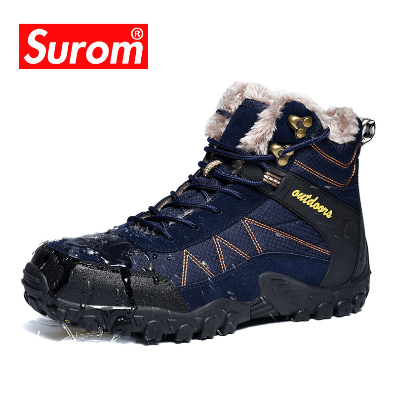 SUROM 2019 חורף גברים של מגפי חיצוני חם עמיד למים החלקה קרסול שלג אתחול עבה קטיפה גומי חורף עבודה בטיחות זכר נעלייםמגפי שלג   -