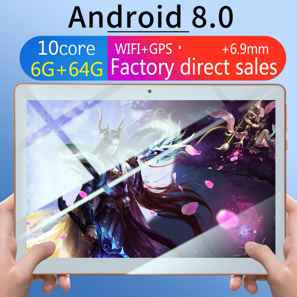 Free Shipping 10 Inch 3G Tablet Octa Core 4GB RAM 64GB ROM IPS 1280*800 Dual Sim Cards Dual Cameras 10.1 GPS Tablet+Gifts
