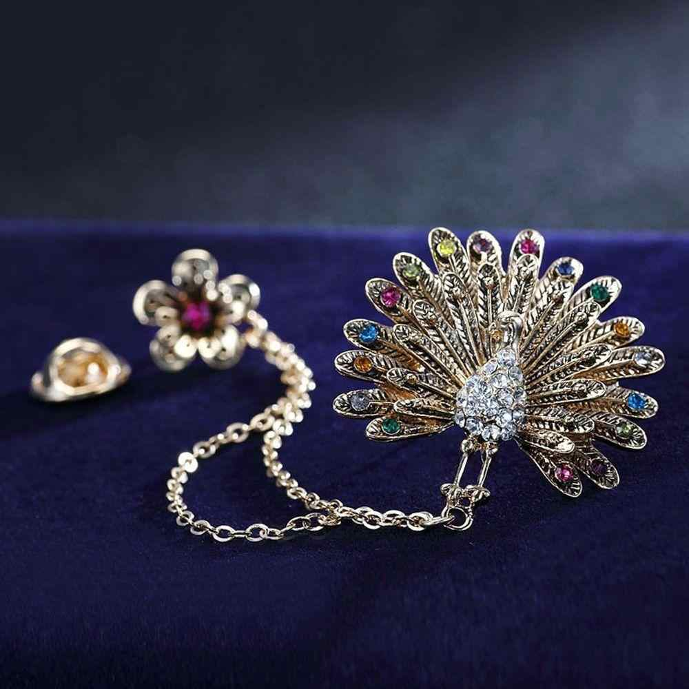 LNRRABC Plum Peacock Brooches Pin Up For Women Suit Clips Girl Alloy Pins Crystal Rhinestones Brooch Pins Fashion Jewelry Gift