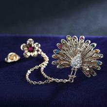 LNRRABC Plum Peacock Brooches Pin Up For Women Suit Clips Girl Alloy Pins Crystal Rhinestones Brooch Fashion Jewelry Gift