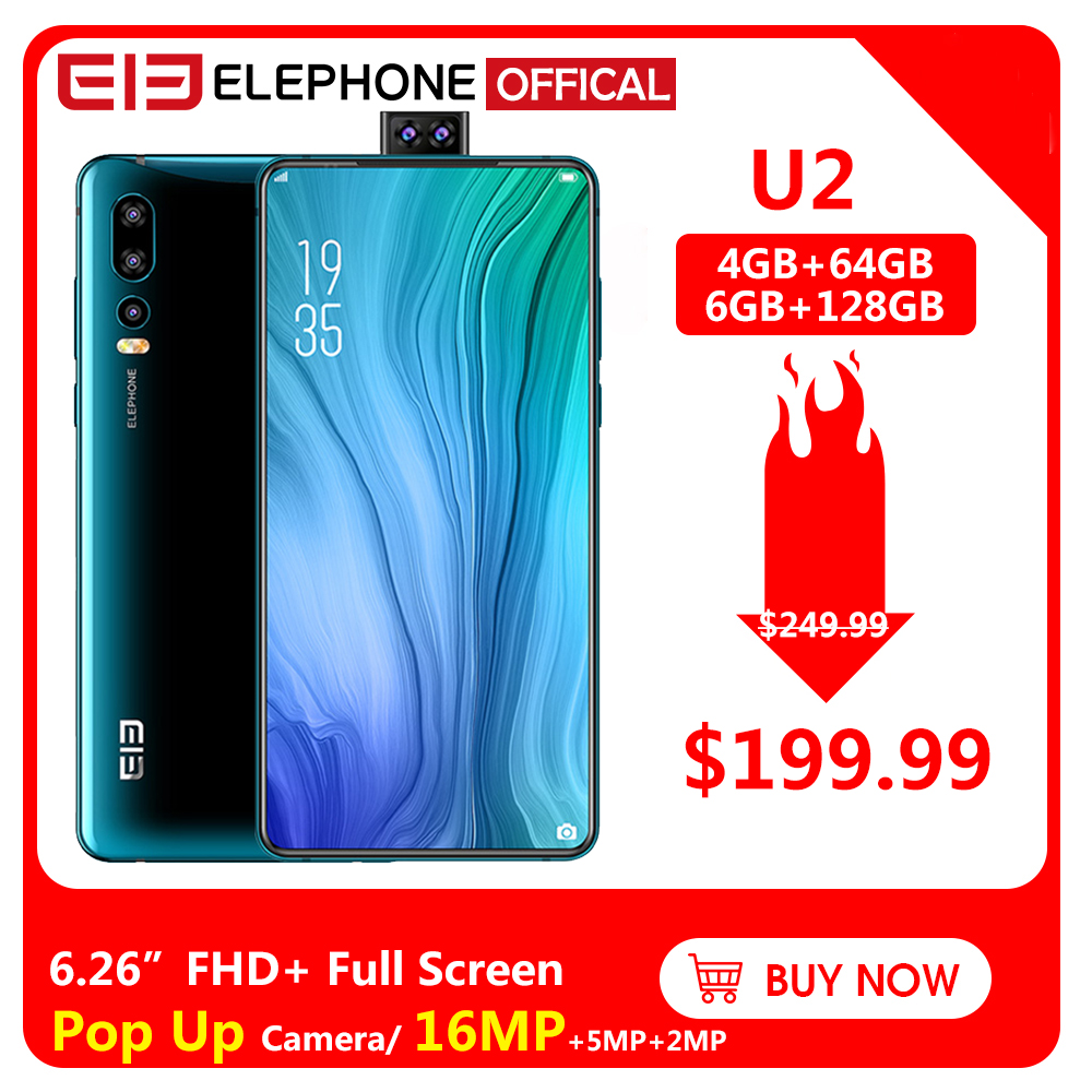 Elephone U2 16MP Pop Up Camera Mobile Phone Android 9.0 MT6771T Octa Core 6GB+128G 6.26