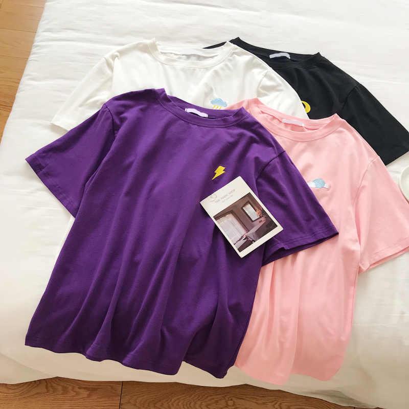 韓国 Kpop 綿 Tシャツ女性長袖オル原宿刺繍 tシャツトップユニセックスクラウドムーン太陽かわいい美的 T シャツ