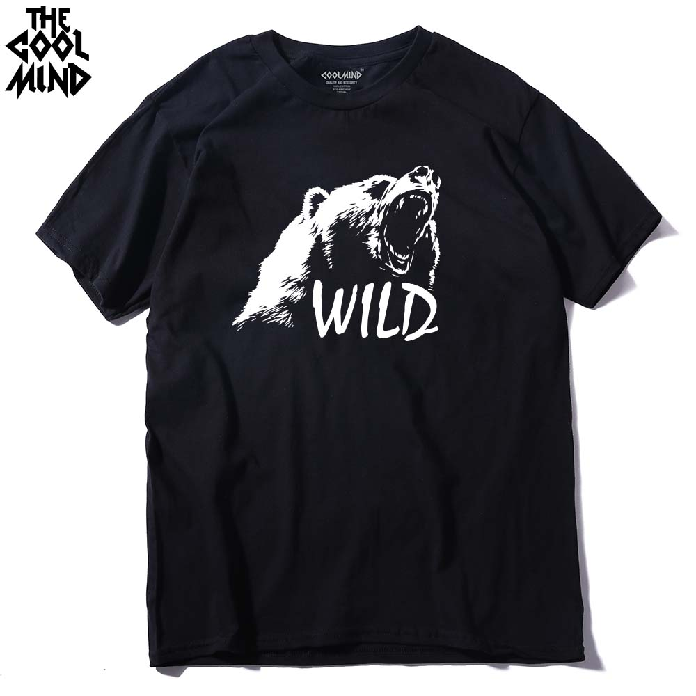 COOLMIND BE0114A 100% Cotton Bear Printed Men T Shirt Casual Short Sleeves Men's T-shirt Casual O-neck Summer Tshirt Tee Shirt