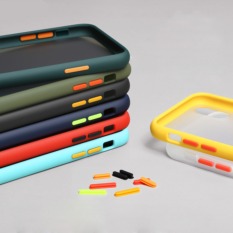 Dual Color Matte Case Cover Redmi 7A 8 8A Note 9S 8T 7 8 Pro Colorful Button PC Soft TPU For Xiaomi Mi 10 9 Lite 9T K20 CC9