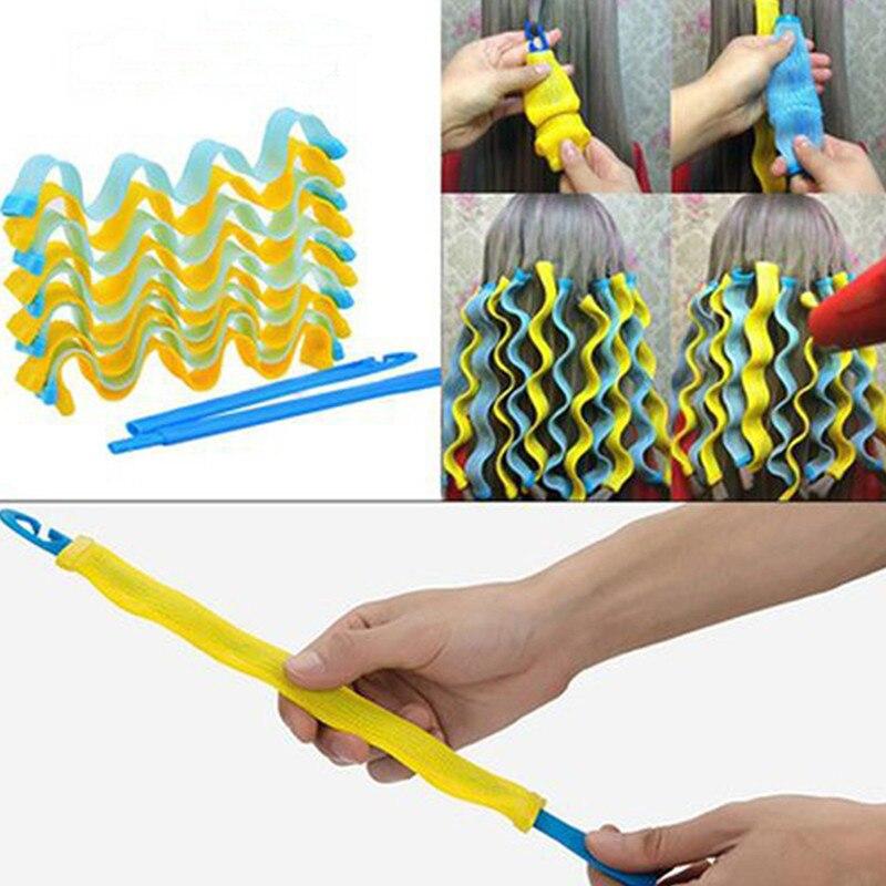 12 шт., волшебные бигуди для волос DIY волна волос Curl ролики Портативный прическа палочки 30 см прочные щипцы для завивки волос Инструменты для ...