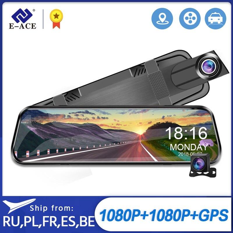 E-ACE тире Камера 10,0 дюймов потоковый медиа-зеркало заднего вида Full HD 1080P Двойной объектив Авто регистратор Ночное видение видео DVR рекордер
