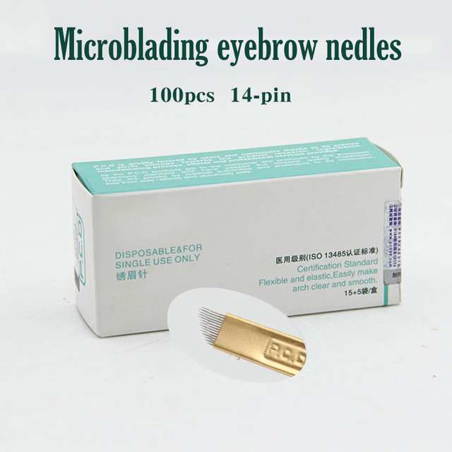 100 pcs 14 Pin Permanent Makeup Eyebrow Tatoo Blade Microblading Needles For 3D Embroidery Manual Tattoo Pen Ma