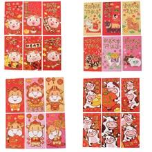6 pièces enveloppe rouge chinoise pour argent chanceux créatif 2021 nouvel an printemps Festival enveloppe cadeau