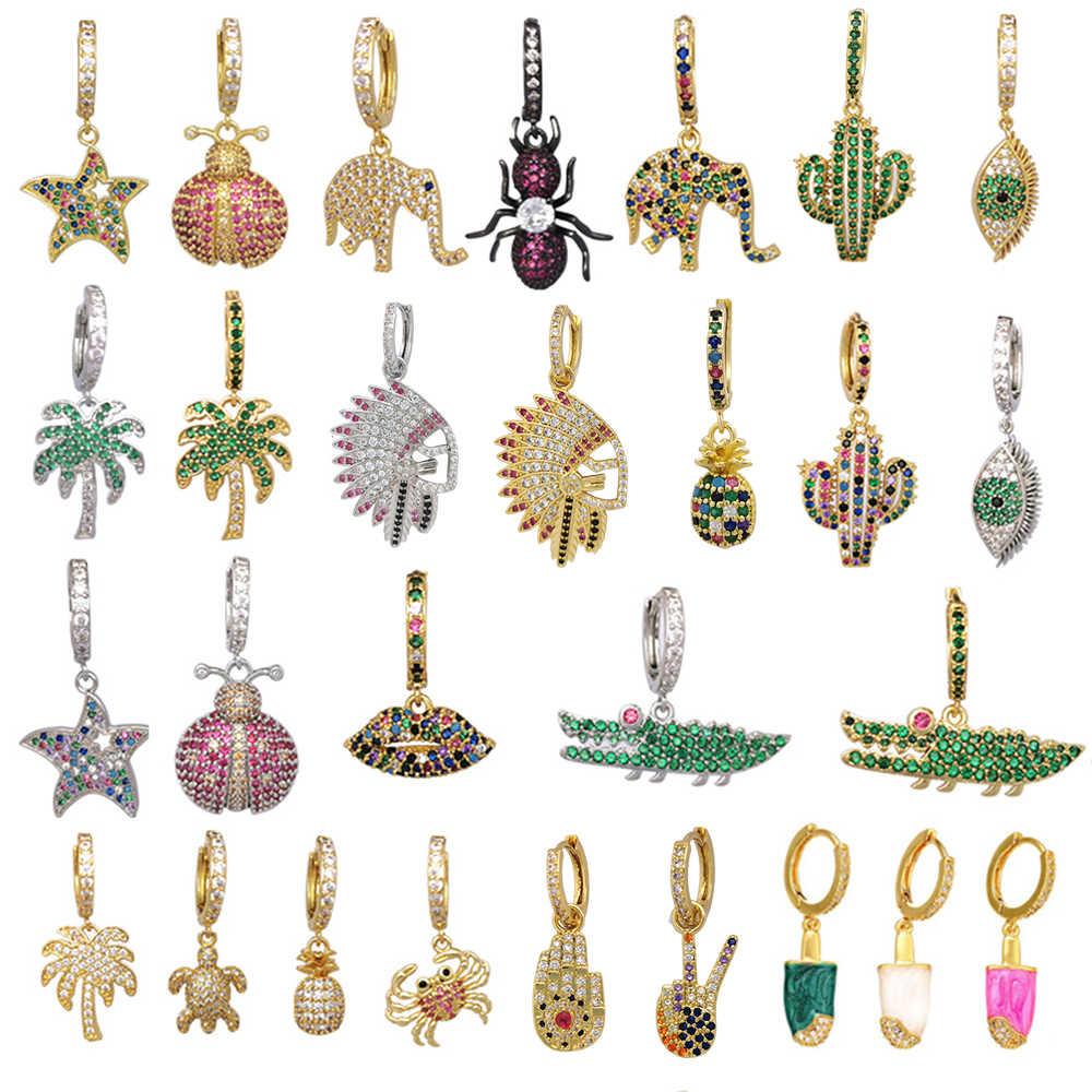 1 قطعة صغيرة هوب أقراط النساء تشيكوسلوفاكيا مجوهرات قوس قزح الذهب الفضة اللون الأناناس ستار الصبار عين الشر الفيل القرط الهندي