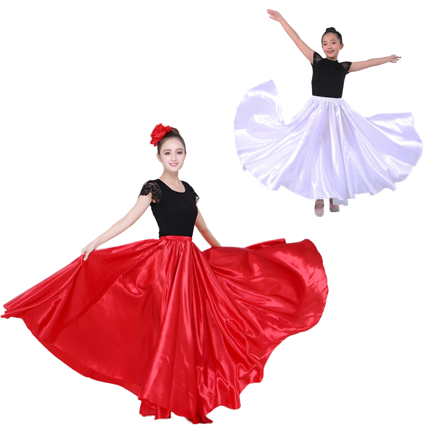 Belly Dancing Clothing Long Maxi Skirts For Adult Women Children Girls Sexy Spanish Flamenco Skirt Smooth Satin Oriental Dress