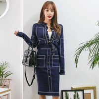 2019 New Women dress Knitting Slim Color Matching Clothing Used Travel On Buttock Render Dresses Gray Blue 886