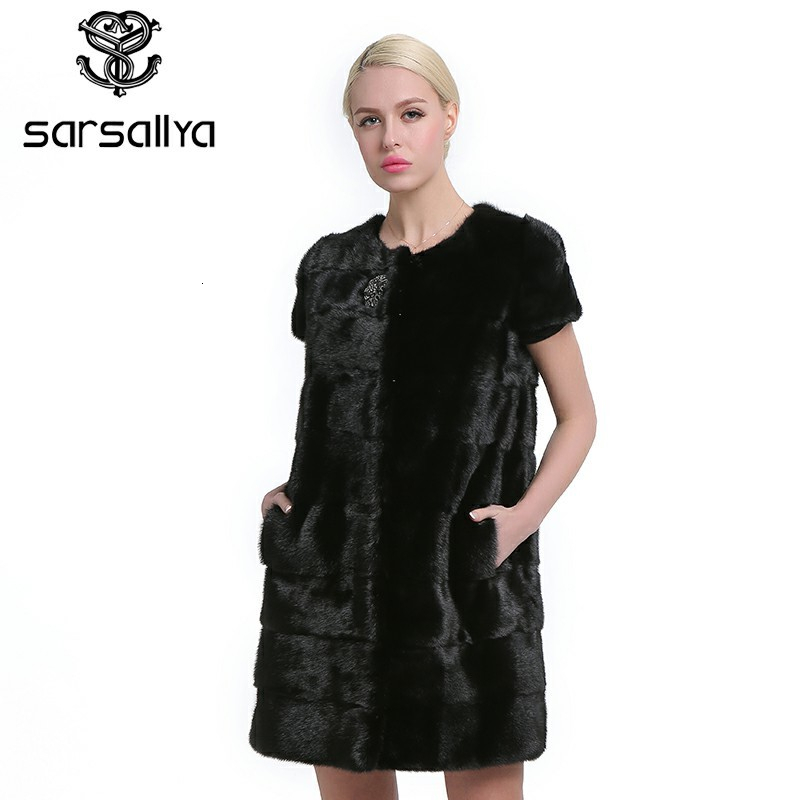 SARSALLYA 100% Real Mink Fur Vest Long Women Winter Fur Vest High Quality Mink Fur Coat Winter Real Fur Vest
