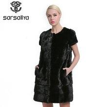 Sarsallya 100% リアルミンクの毛皮の女性の冬の毛皮高品質ミンクの毛皮のコート冬のリアルファーベスト