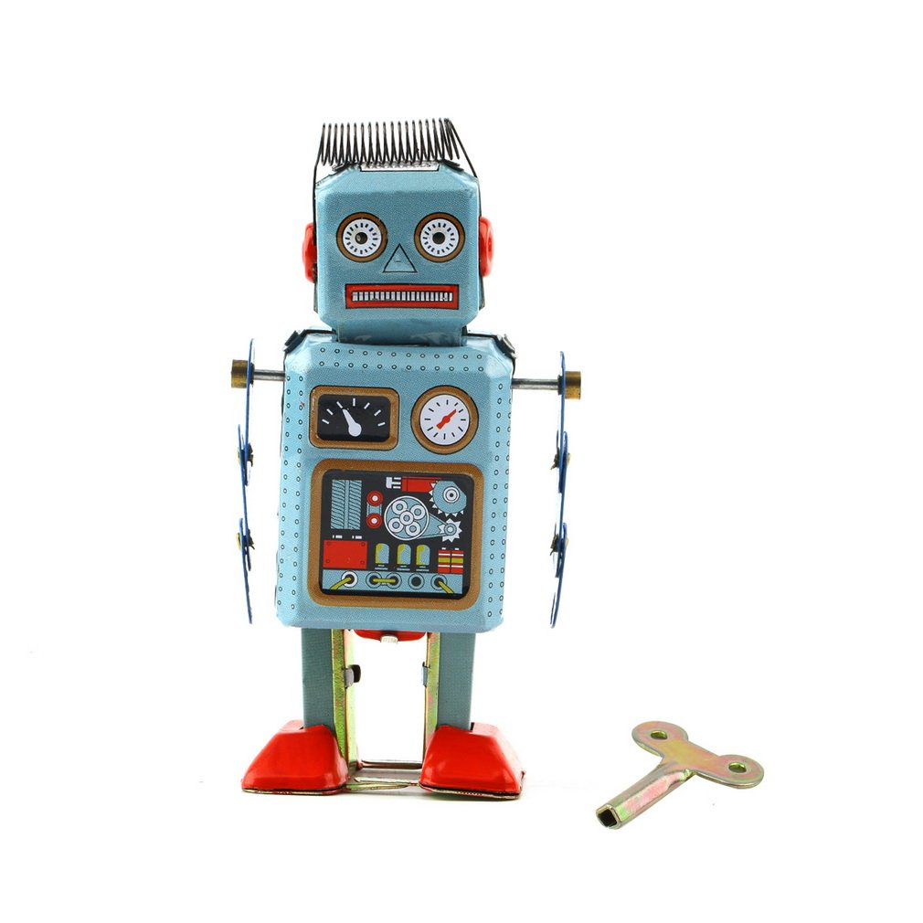 Robot Toy 1pc Vintage Mechanical Clockwork Robot Wind Up Metal Walking Robot Action Finger Tin Toys For Children KidS Gift Hot !