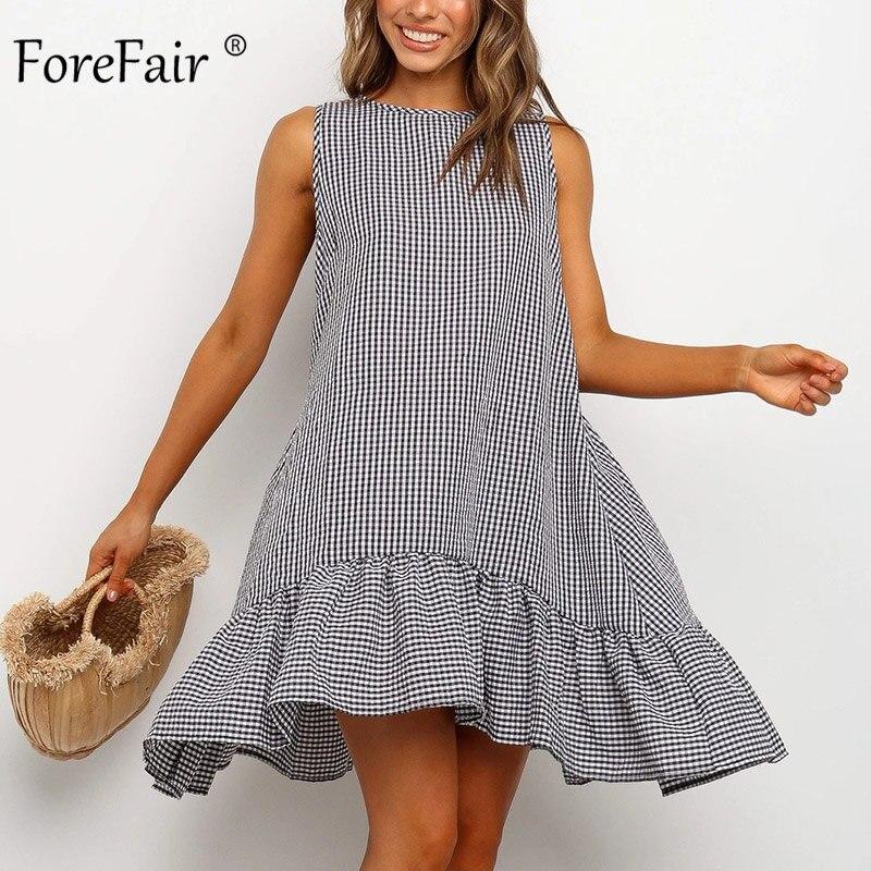 Женское пляжное платье с оборками Forefair, повседневное летнее платье в стиле бохо с круглым вырезом и открытыми плечами свободного размера плюс 2020 Платья      АлиЭкспресс