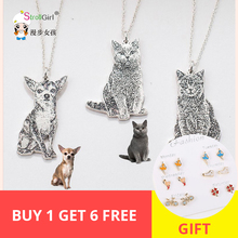 StrollGirl 925 sterling silver necklace personalized custom your pet pattern dog and cat necklace&pendant free shipping