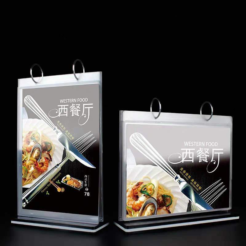 A5 Clear Tabletop Tent Card Restaurant Plastic Upright Acrylic Table Menu Holder Vertical Paper Sign Holder Display Stand