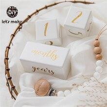 Holz Baby Milestone Karten Gedenken block Baby Geburt Monatliche Aufnahme Karten Neugeborenen Dusche Geschenke Fotografie Requisiten