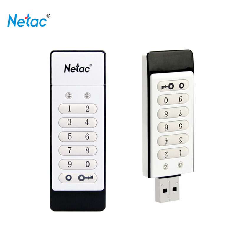 Original Netac Keyboard Encrypted USB Flash Drive 64GB 32GB USB2.0 Pendrive 16GB Usb Memory Stick White U-SAFE U618
