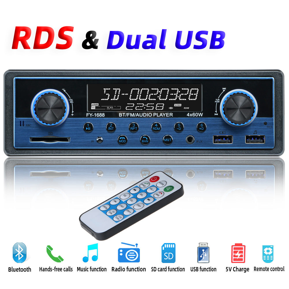 Dual USB Car Multimedia Player Car Radio Coche RDS Bluetooth Aux Stereo Audio MP3 Radios Para Auto Electronics Autoradio 1 din image
