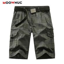 Summer Street Dress Shorts Pants Pockets Trousers Plaid New Hombre Knee Length Fit MOOWNUC Fashion Male 2020 Cotton Casual  Mens plaid knee length casual mens shorts