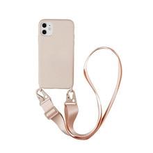 En Silicone de luxe Collier de Chaîne Pour iPhone 12 11 Pro Max 7 8 Plus X XR XS Max Lanière Cou Sangle Corde Cordon Couverture Arrière