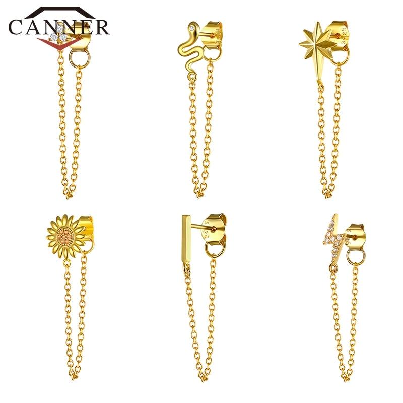 1pcs Gold Silver Color Lightning/Snake Chain Stud Earrings for Women 925 Sterling Silver Tassel Earrings Fashion Jewelry