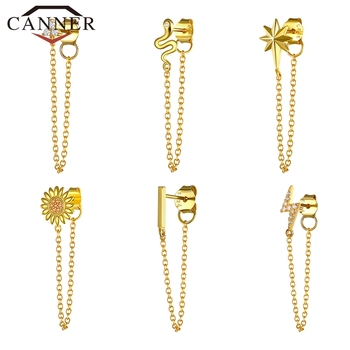 1pcs Gold Silver Color Lightning/Snake Chain Stud Earrings for Women 925 Sterling Silver Tassel Earrings Fashion Jewelry