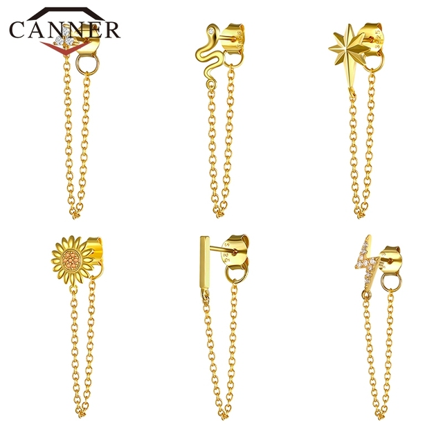 1pcs Gold Silver Color Lightning/Snake Chain Stud Earrings for Women 925 Sterling Silver Tassel Earrings Fashion Jewelry 1