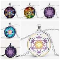Star Cube Divine Geometric Charm Necklace Pendant Glass Bullet Hexagon Star Magic Chakra Art Jewelry