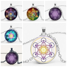 Star Cube Divine Geometric Charm Necklace Pendant Glass Bullet Hexagon Magic Chakra Art Jewelry