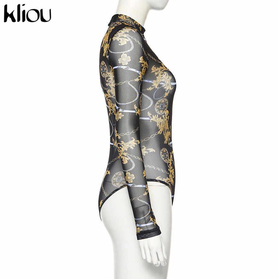 Kliou mesh print sexy bodysuit long sleeve rompers ladies sexy see-through night club party overalls female slim skinny jumpsuit