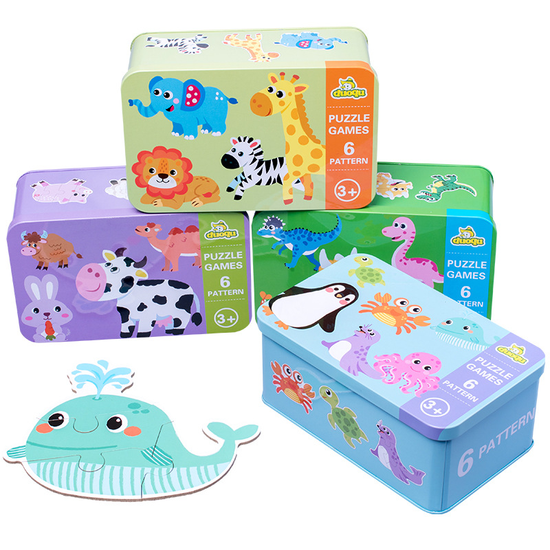 Kids Creative Wooden Puzzle Iron Box Kindergarten Baby Early Education Cartoon Animal Traffic Wooden Puzzle Interactive Game