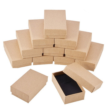 24pcs Retro Kraft Jewelry Box with Sponge Inside Gift Cardboard Boxes for Ring Necklace Earring jewelry display Packaging Box inside pandora s box
