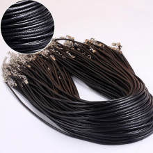 1PC Hot Black Genuine Leather Cord Adjustable Braided 45cm Rope For DIY Necklace Bracelet Jewelry Making Findings(China)