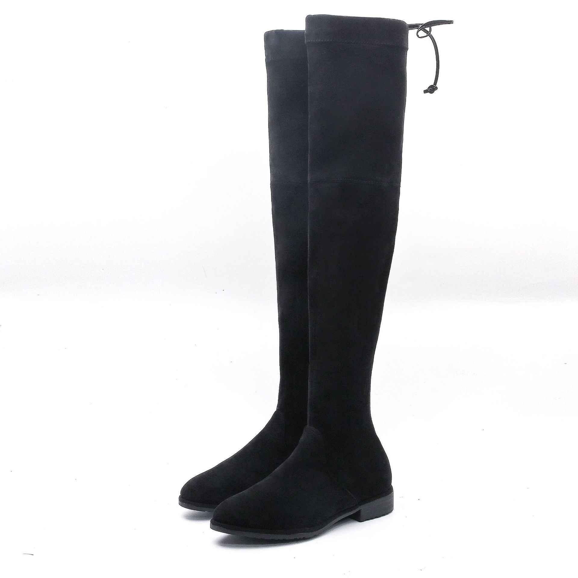 Dij laarzen platte overknee 2019 Seizoen Overknee Lange Laarzen Vrouw Overknee Hoge Verhogen Elastische Laarzen Vrouw