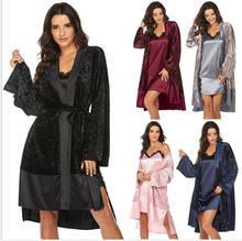 Женские пижамные комплекты лоскутный кардиган на шнуровке комплект