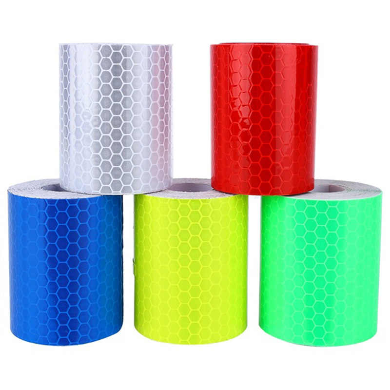 Tahan Air Warning Tape Strip Stiker Peringatan Lampu Reflektor Pelindung Stiker Reflektif Film Mobil Safety Mark 100 Cm X 5 Cm