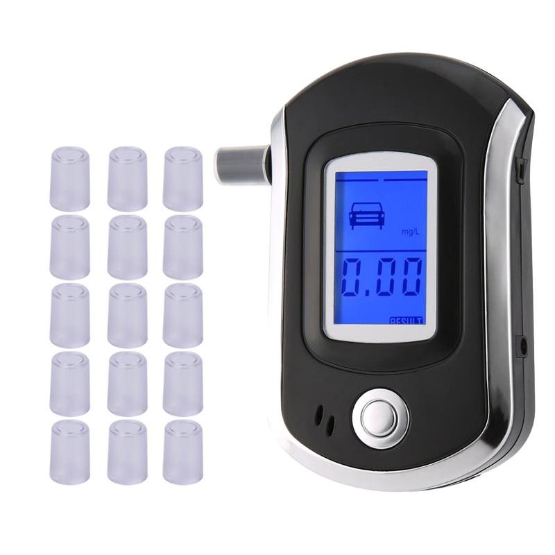 AT-6000 Breathalyzer Alcohol Detector Digital LCD Screen Battery Power Hand-Hold Professional BAC Tracker With16 Mouthpieces