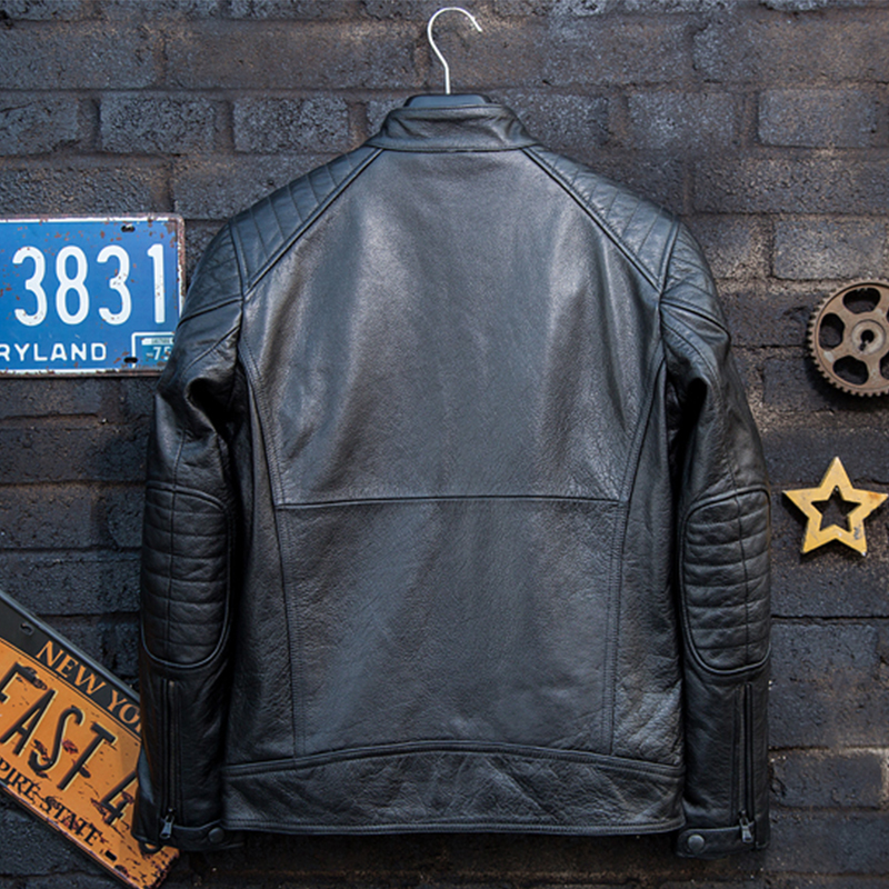 Autumn Genuine Leather Jacket Men Cowhide Motorcycle Clothing Fashion Youth Style Black Stand Collar Slim Fit Short Winter Coat
